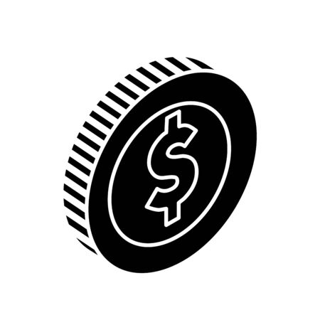 silhouette of coin money cash isolated icon vector illustration design Stock Illustratie