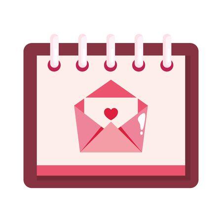 envelope mail with heart in calendar isolated icon vector illustration design Illusztráció