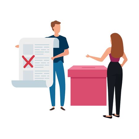 business couple with ballot box isolated icon vector illustration design