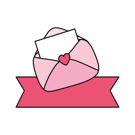 envelope mail with ribbon decoration isolated icon vector illustration design