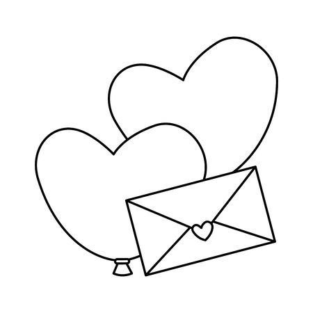 envelope with balloons helium in heart shape vector illustration design