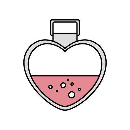 fragrance with heart bottle isolated icon vector illustration design Ilustração