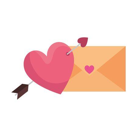 envelope and heart with arrow isolated icon vector illustration design Illusztráció
