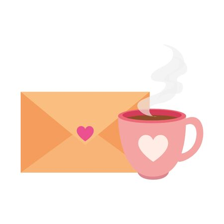 envelope with heart and cup coffee isolated icon vector illustration design