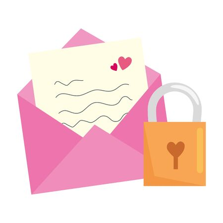 envelope mail with padlock isolated icon vector illustration design