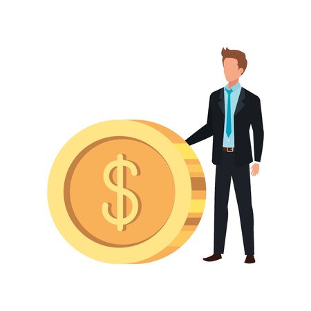 Coin and man design, Money finance commerce market payment invest and buy theme Vector illustration Stock Illustratie