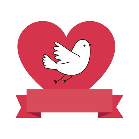 cute dove with heart and ribbon vector illustration design