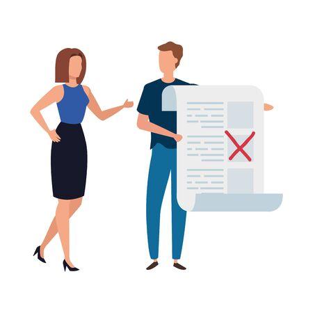 Paar mit Abstimmungsformular isoliert Symbol Vektor Illustration Design