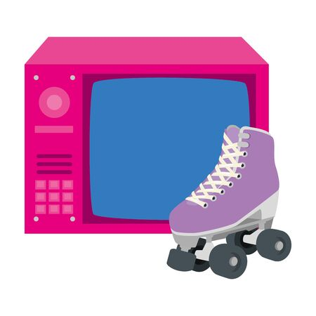 tv of nineties retro with roller skates isolated icon vector illustration design