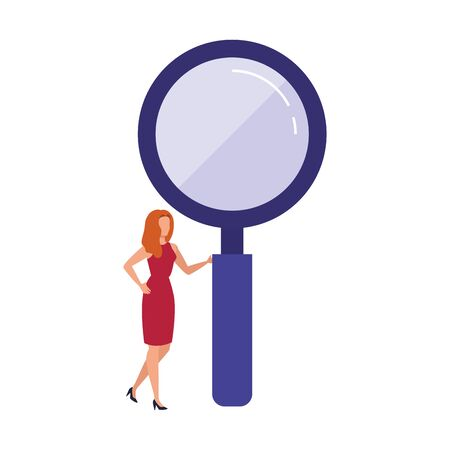 Loupe and woman design, Tool search magnifying glass zoom lens and exploration theme Vector illustration  イラスト・ベクター素材