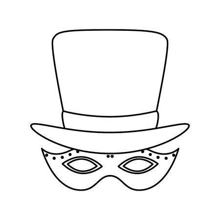 Mardi gras mask and hat design, Party carnival decoration celebration festival holiday fun new orleans and traditional theme Vector illustration