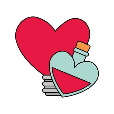 fragrance with light bulb in heart shape vector illustration design Ilustração