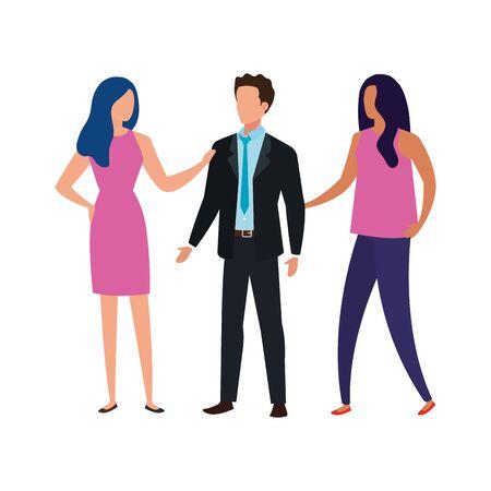 business people elegant avatar character vector illustration design
