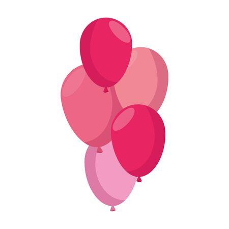balloons helium decoration isolated icon vector illustration design  イラスト・ベクター素材