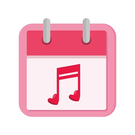 calendar with note music isolated icon vector illustration design  イラスト・ベクター素材