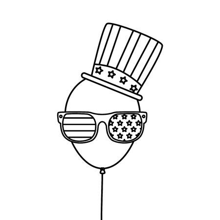 Usa balloon with glasses and hat design, United states america independence labor day nation us country and national theme Vector illustration