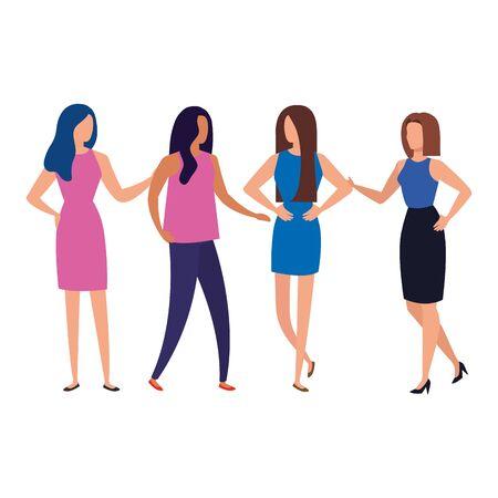 group of business people elegant avatar character vector illustration design Illusztráció