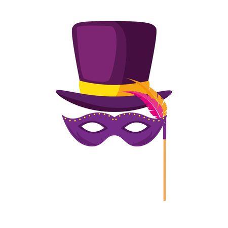 Máscara de mardi gras y diseño de sombrero, fiesta carnaval decoración celebración festival vacaciones diversión nueva orleans y tema tradicional ilustración vectorial Ilustración de vector