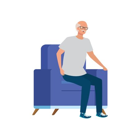 old man sitting in sofa avatar character vector illustration design