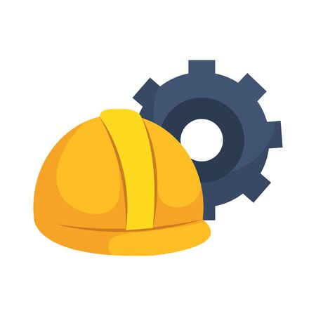 Gear and helmet design, construction work repair machine part technology industry and technical theme Vector illustration