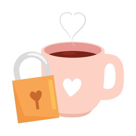 cup coffee with padlock isolated icon vector illustration design