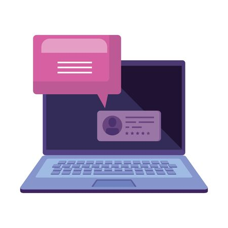 laptop computer for vote online line with speech bubble vector illustration design