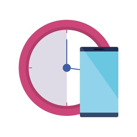 clock time with smartphone isolated icon vector illustration design 向量圖像