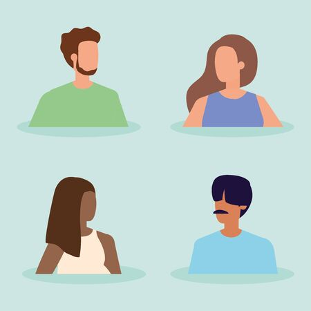 group of young people characters vector illustration design