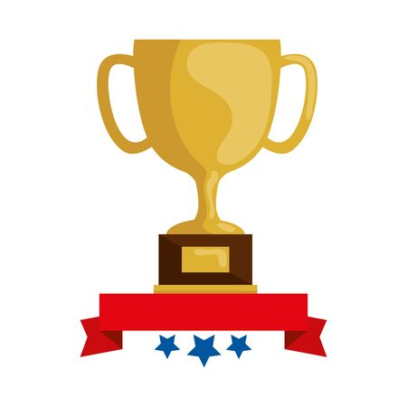 cup trophy award with ribbon and stars vector illustration design