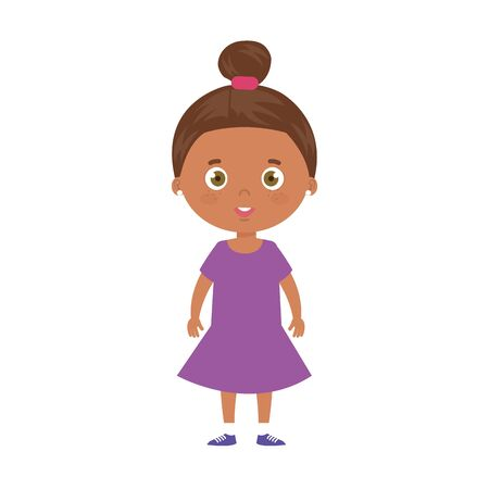 cute little girl afro avatar character vector illustration design