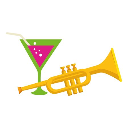 Trumpet instrument and cocktail design, Music sound melody song musical art and composition theme Vector illustration