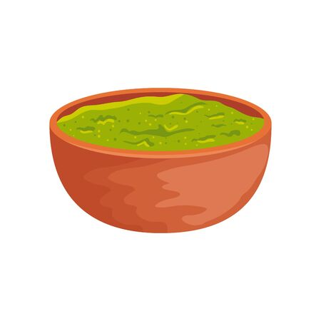 bowl with delicious guacamole isolated icon vector illustration design