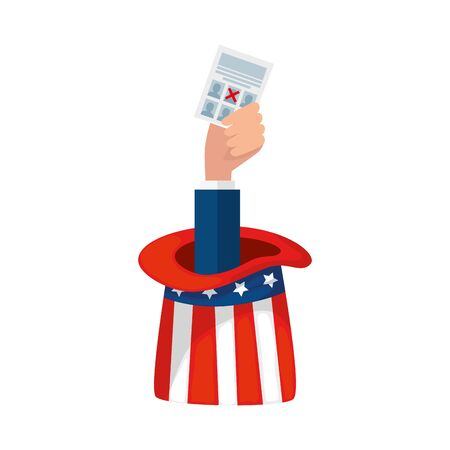 Usa vote paper and hat design, United states america independence labor day nation us country and national theme Vector illustration