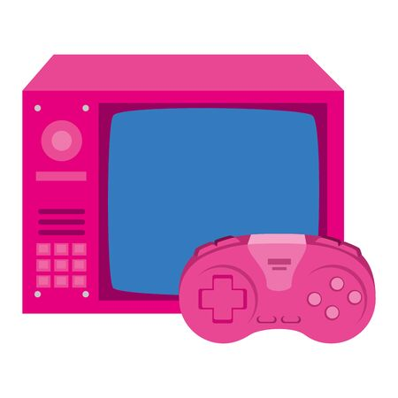 tv of nineties with control game isolated icon vector illustration design