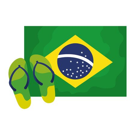 flip flops with flag brazil isolated icon vector illustration design