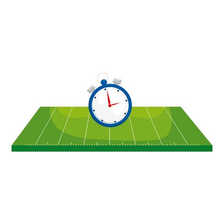 field american football with chronometer vector illustration design