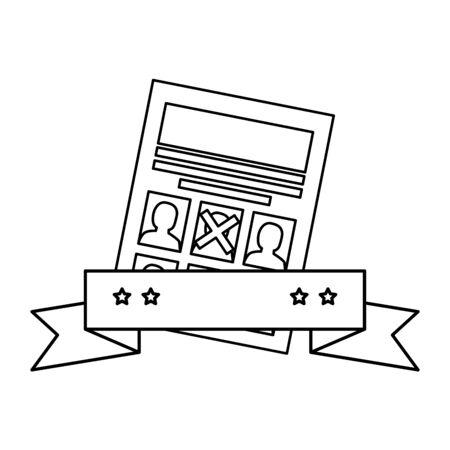 Votar papel y diseño de cinta, presidente electoral campaña de gobierno votante político independencia política y tema unido ilustración vectorial Ilustración de vector