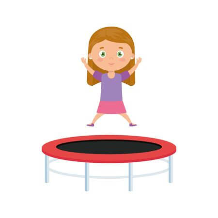 cute little girl in trampoline jump game vector illustration design Иллюстрация