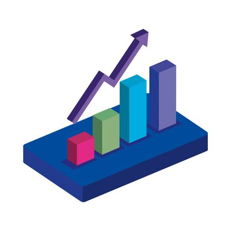 bars statistical graph with arrow up isolated icon vector illustration design  イラスト・ベクター素材