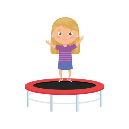cute little girl in trampoline jump game vector illustration design  イラスト・ベクター素材