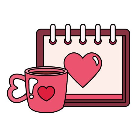 calendar with heart and cup coffee vector illustration design