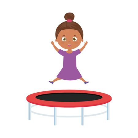 cute little girl afro in trampoline jump game vector illustration design