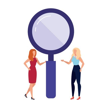 Loupe and women design, Tool search magnifying glass zoom lens and exploration theme Vector illustration Ilustração Vetorial