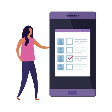 femme d'affaires avec smartphone pour voter en ligne conception d'illustration vectorielle