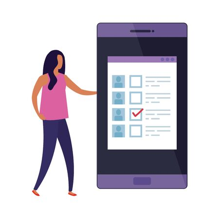 business woman with smartphone for vote online vector illustration design