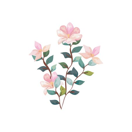 cute flowers with branches and leafs isolated icon vector illustration design