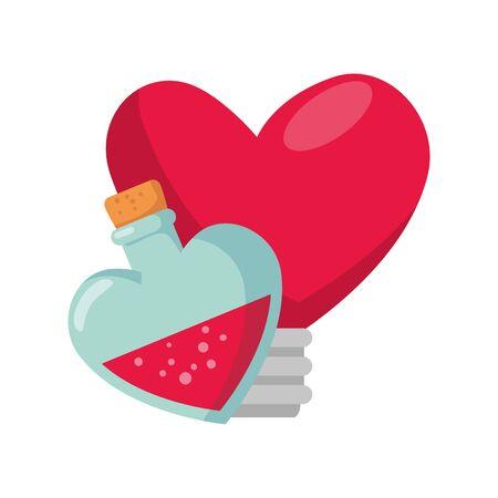 fragrance with light bulb in heart shape vector illustration design Vektorgrafik