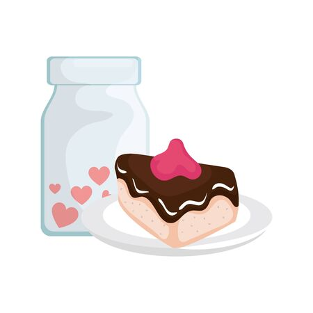 cake slice and bottle with hearts vector illustration design