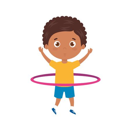 cute little boy afro playing hula hula isolated icon vector illustration design 向量圖像