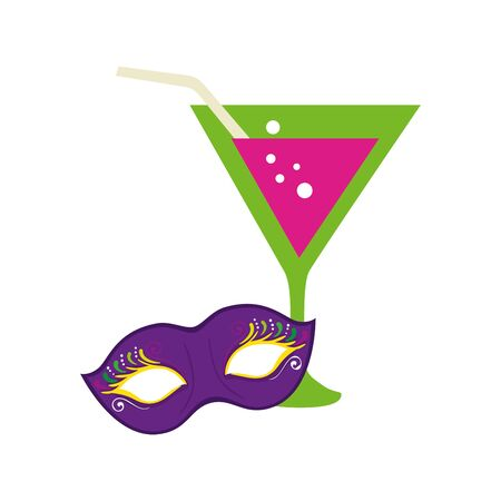 Mardi gras mask and cocktail design, Party carnival decoration celebration festival holiday fun new orleans and traditional theme Vector illustration